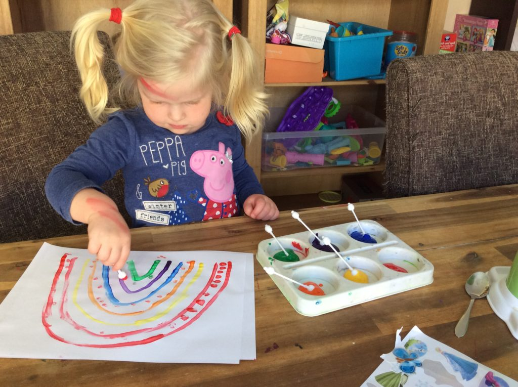 finger gym fine motor control rainbow painting