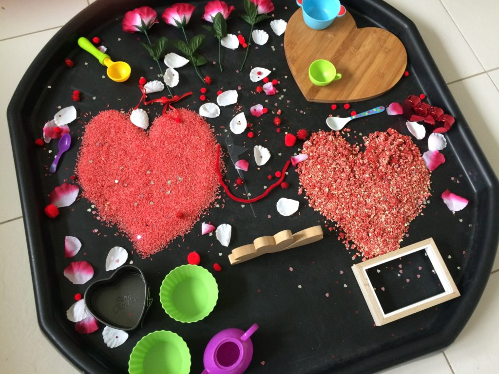 sensory tray valentines day